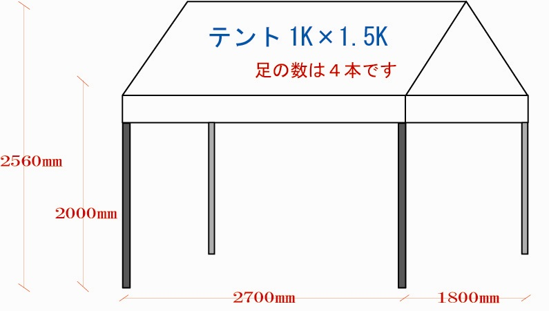 1.8m×2.7mテント(1k×1.5kテント)